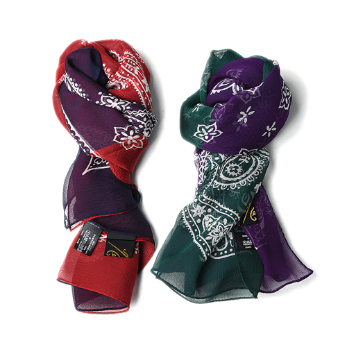 "NEEDLES 2 Tone Bandana Scarf Silk Crepe ""Purple&Green / Navy&Red"""