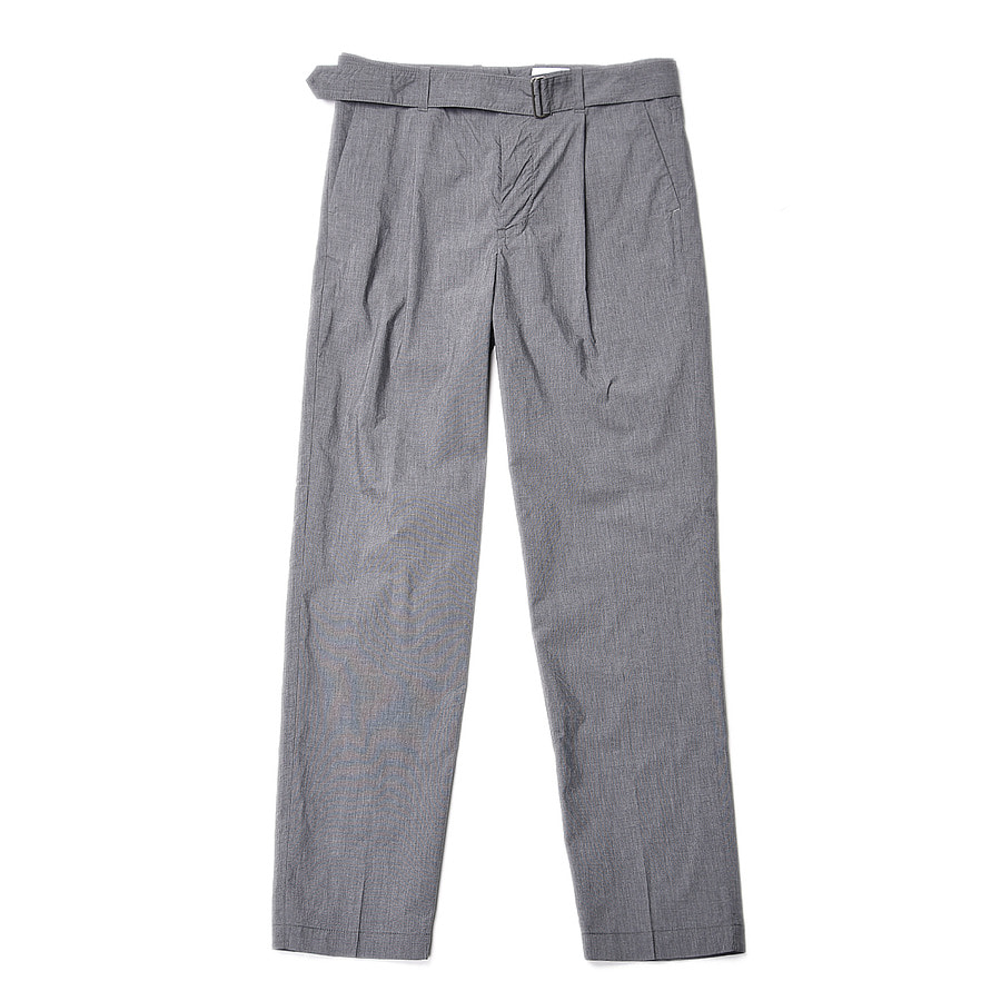 "Still by Hand Melange Face Belted Pants ""Grey"""