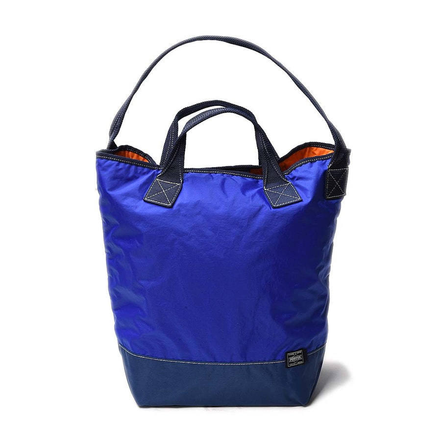 "KAPTAIN SUNSHINE x PORTER Washed Military Nylon Tote ""Deep Blue&Navy"""