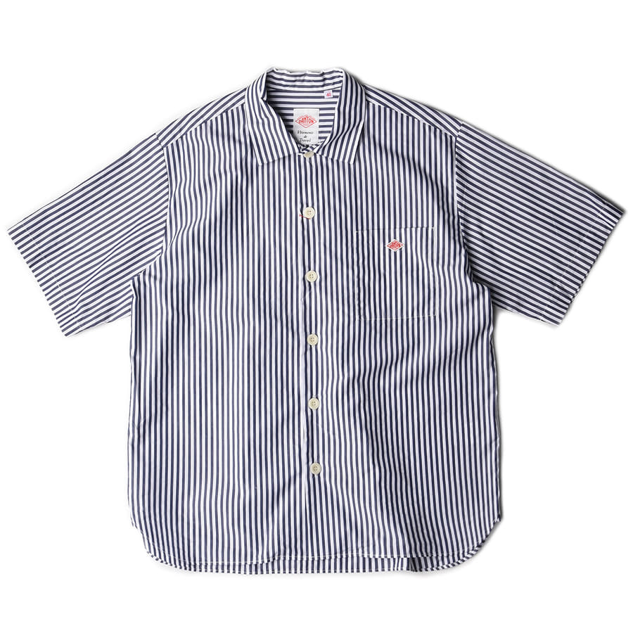 "DANTON #JD-3609 Open Collar Shirts ""Navy Stripe"""