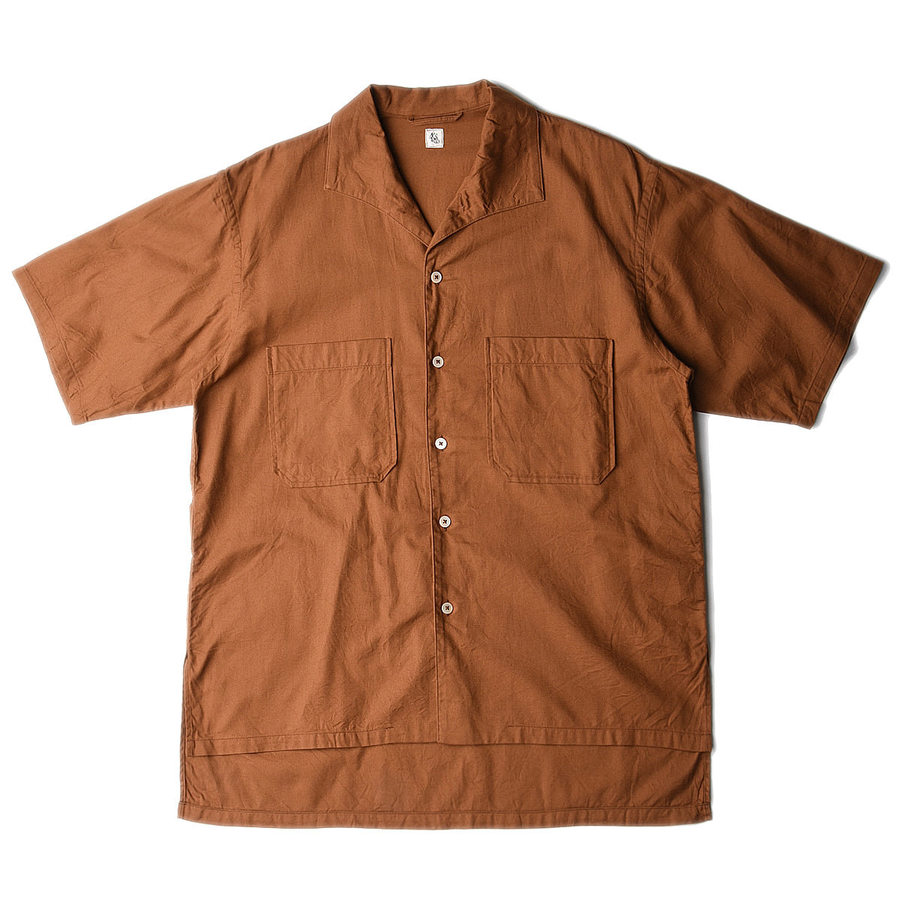 "KAPTAIN SUNSHINE Italian Collar Safari Shirt ""Brown"""