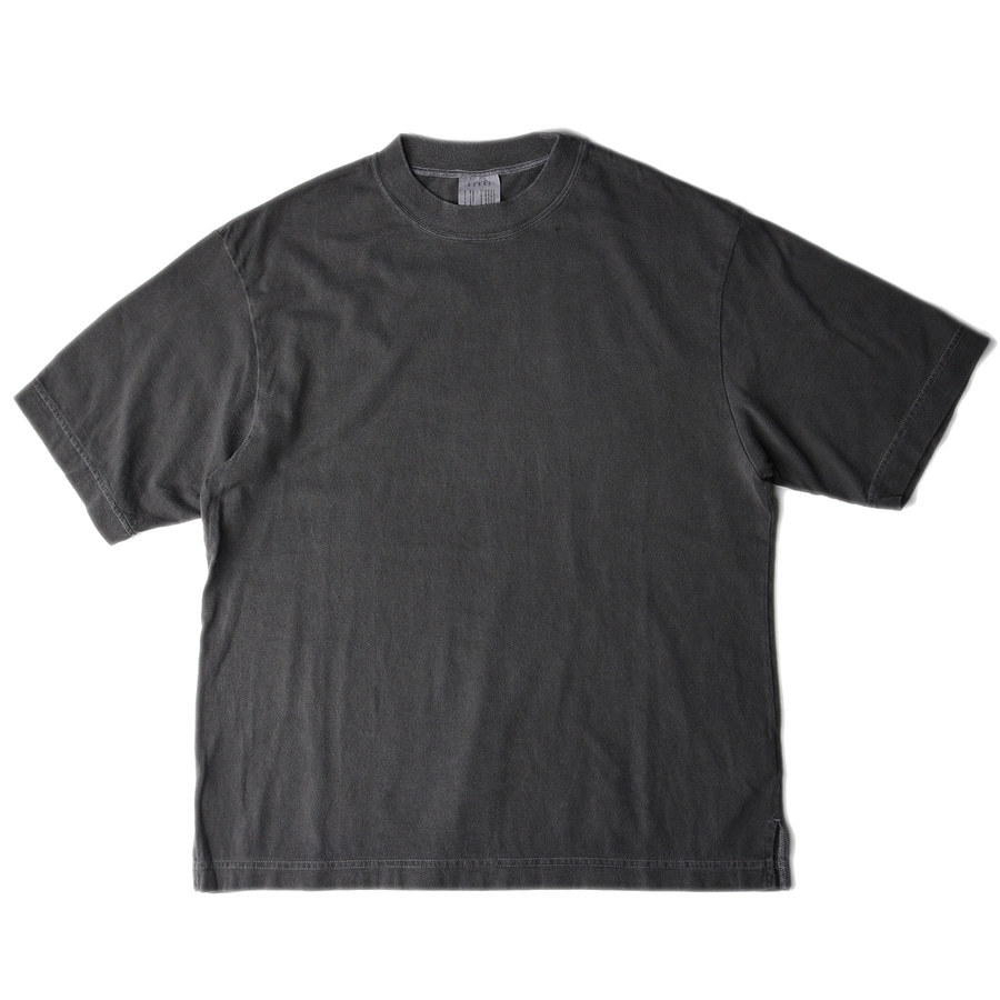 "BUKHT Wide Rib Crew Neck Tee -Pigment Dye- Core Compact Yarn ""Black"""