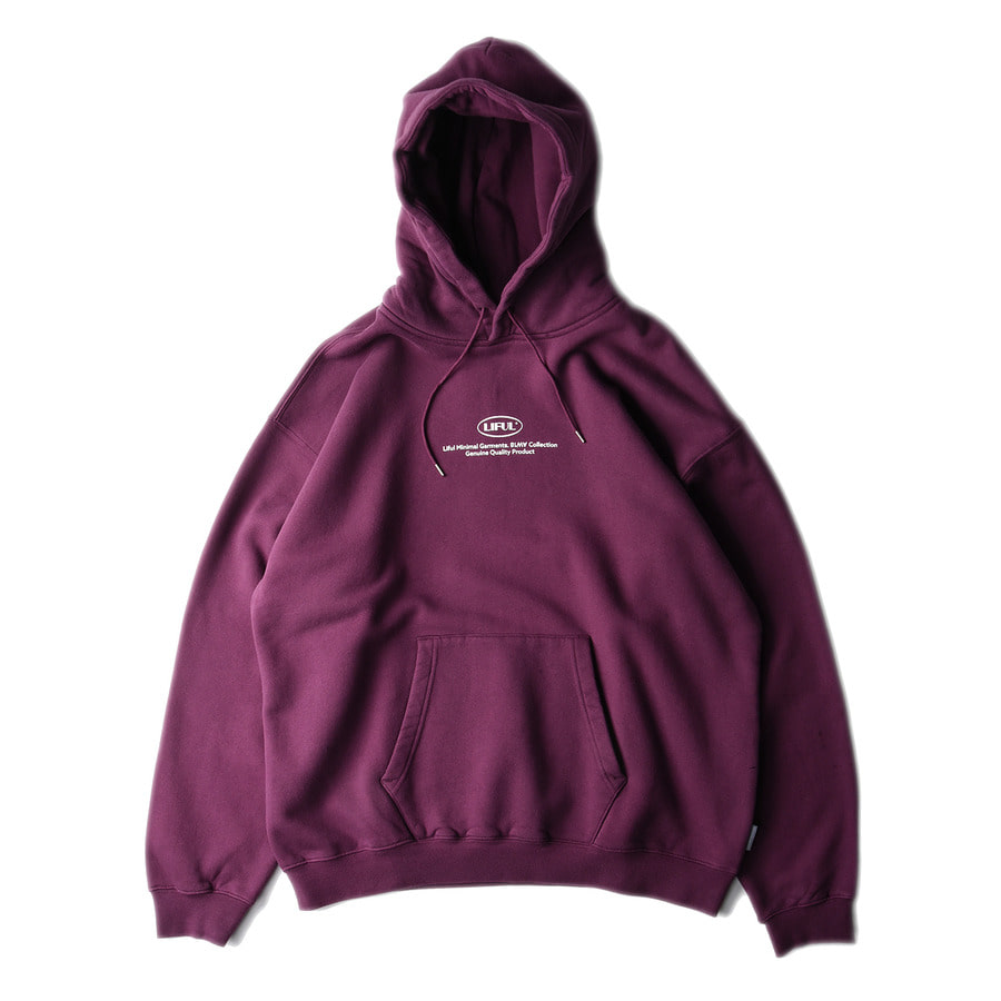 "LIFUL Small Oval Logo Hoodie ""Burgundy"""