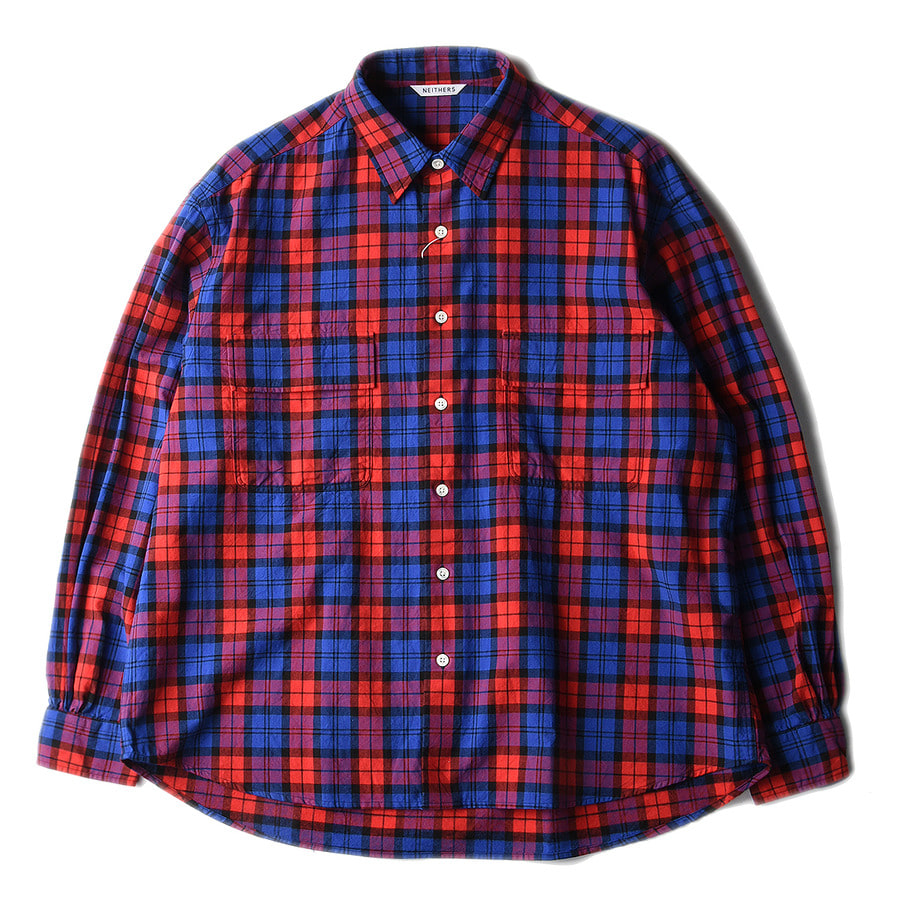 "NEITHERS 211-8 2-Pocket Wide Shirt ""Red&Blue"""