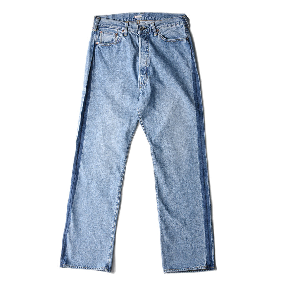 "KAPTAIN SUNSHINE Baggy Cut Straight Denim Pants""Washed & Remaked Side-Seam"""