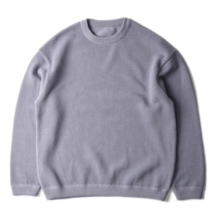 "CREPUSCULE Moss Stitch L/S Sweat ""L.Blue"""