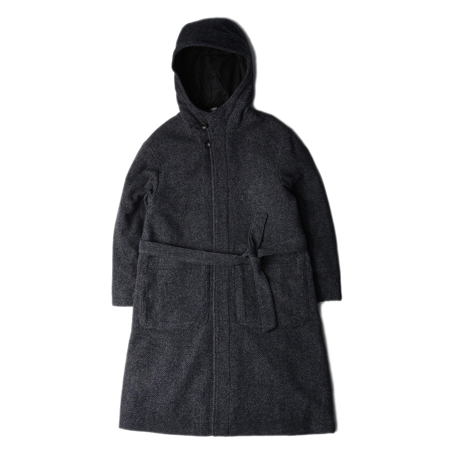"UNAFFECTED Hooded Robe Coat ""Charcoal Navy"""
