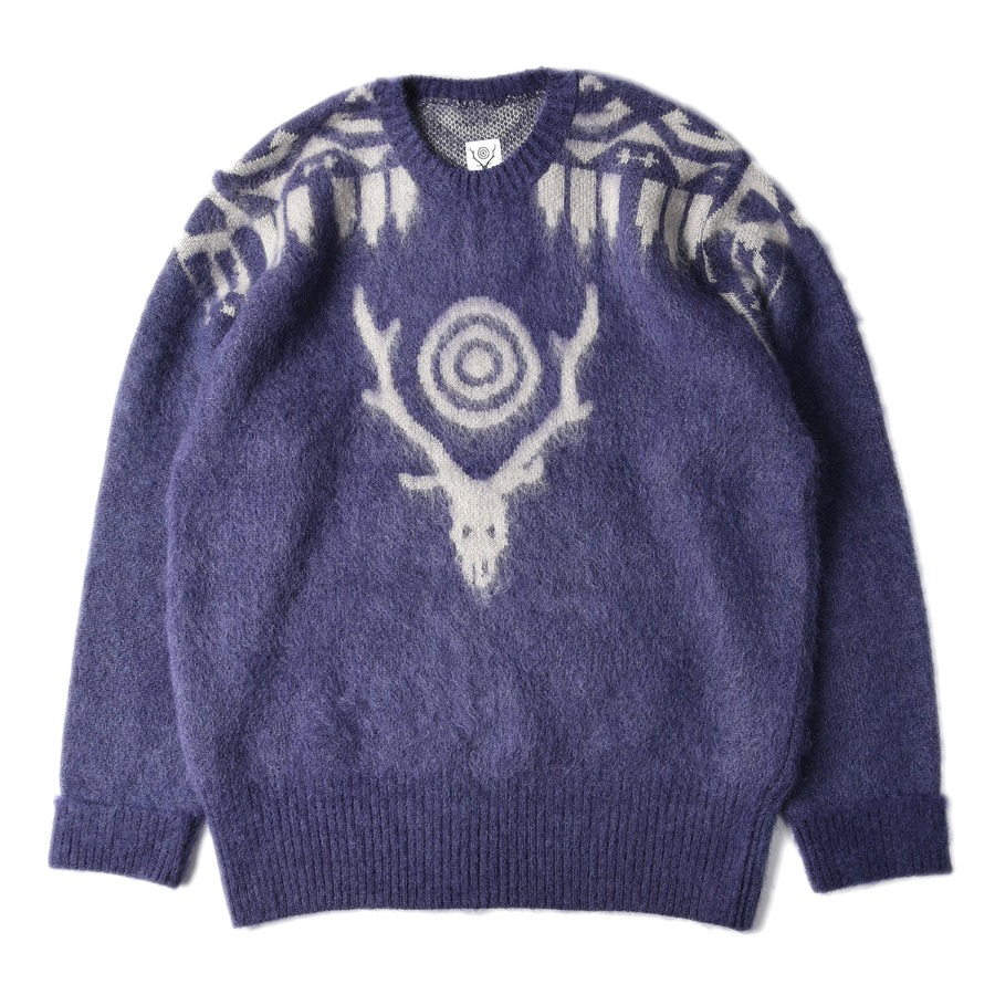 "SOUTH2 WEST8 Loose Fit Mohair / Aztec Sweater ""Purple"""