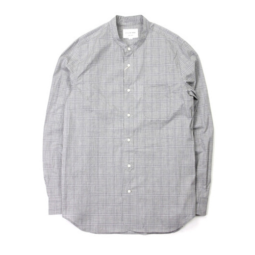 "Still by Hand Stand Collar Shirt ""Grey Check"""