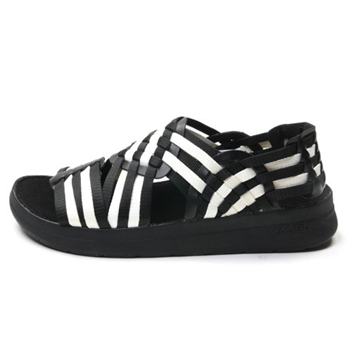 "Malibu Sandals (Women's / Men's) CANYON Nylon Webbing ""Black/Snow White"""