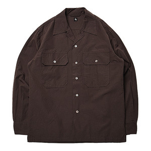 "KAPTAIN SUNSHINE Utility Open Collar Shirt ""Brown"""