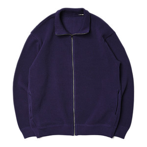"CREPUSCULE Moss Stitch Zip Cardigan ""Purple"""