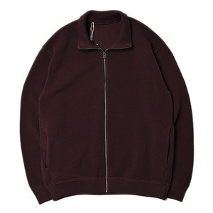 "CREPUSCULE Moss Stitch Zip Cardigan ""Brown"""