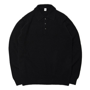 "KAPTAIN SUNSHINE 10G Raised Knit Long Sleeved Polo ""Black"""