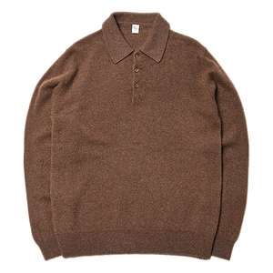 "KAPTAIN SUNSHINE 10G Raised Knit Long Sleeved Polo ""Brown"""