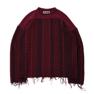 "KIIT Wool Stripe Jaqured Loose Knit ""Wine"""