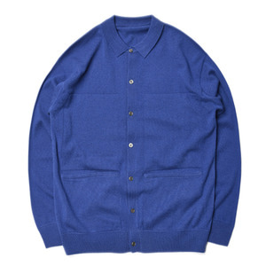 "CREPUSCULE L/S Knit Polo ""Blue"""