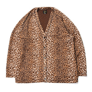 "NEEDLES V neck Cardigan Leopard jacquard ""Brown"""