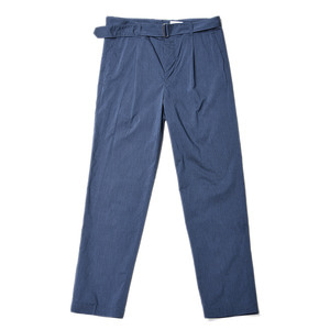 "Still by Hand Melange Face Belted Pants ""Blue"""