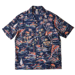 "UNAFFECTED Open Collar Half Shirt ""Navy Fish"""