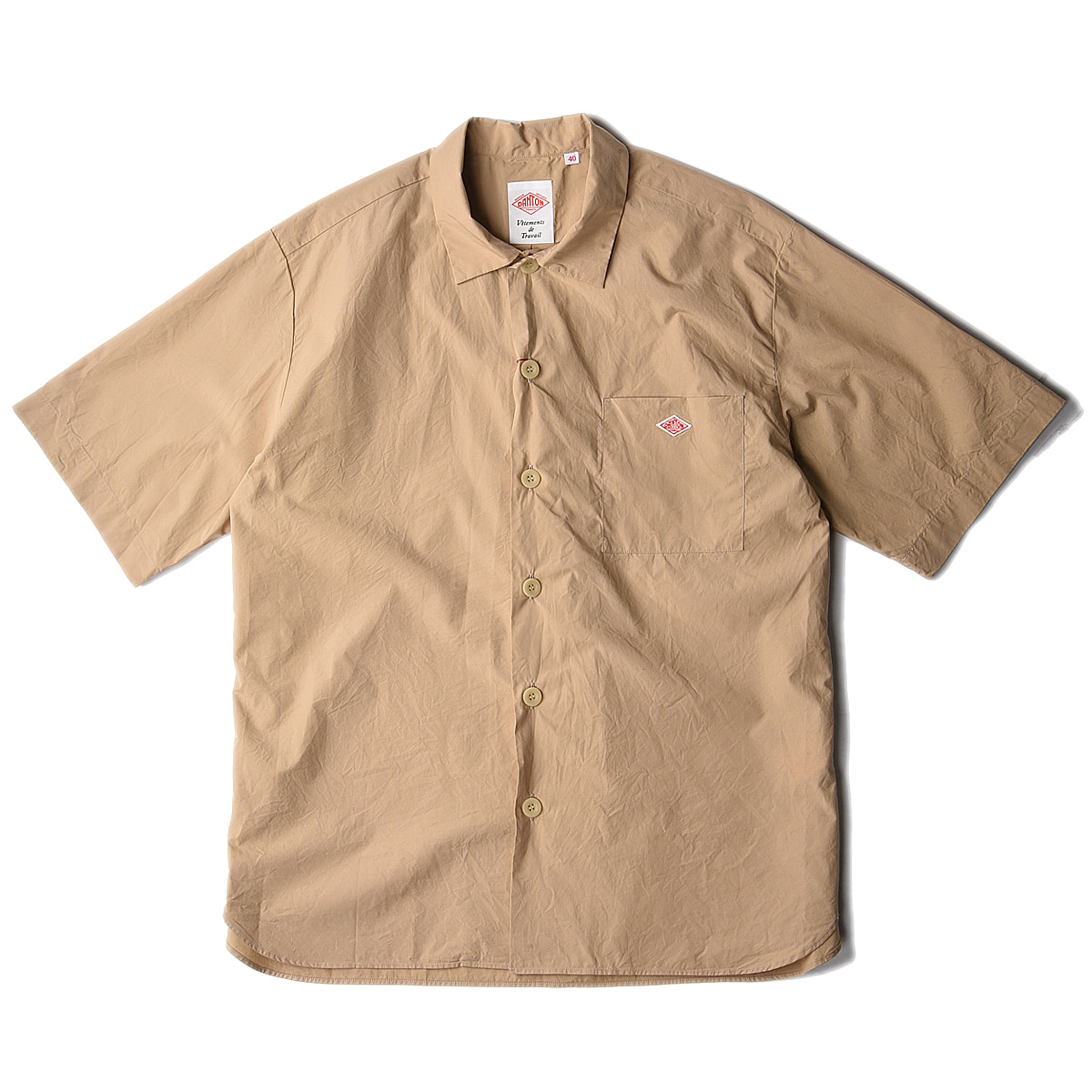 "DANTON #JD-3609 Open Collar Shirts ""Tan"""