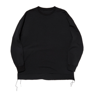 "Qlad Museum Cotton Seersucket Scatter Pullover ""Black"""