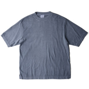 "BUKHT Wide Rib Crew Neck Tee -Pigment Dye- Core Compact Yarn ""Blue Gray"""