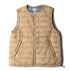 "DANTON #JD-8752 Nylon Taffeta Down Vest ""New Beige"""