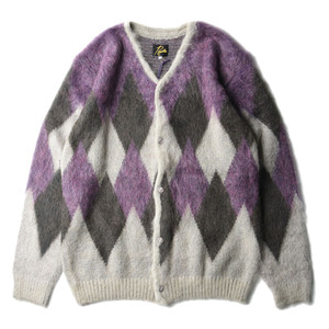 "NEEDLES Mohair Cardigan Diamond ""Grey"""