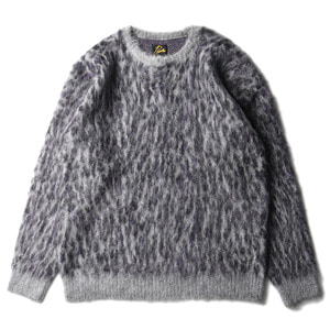 "NEEDLES Mohair Sweater Leopard ""Grey"""