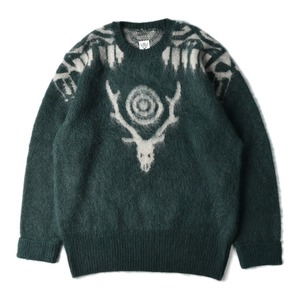 "SOUTH2 WEST8 Loose Fit Mohair / Aztec Sweater ""Green"""
