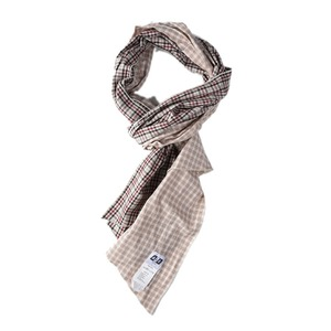 "AIE Cotton plaid DLF Scarf ""Tan & Burgundy"""