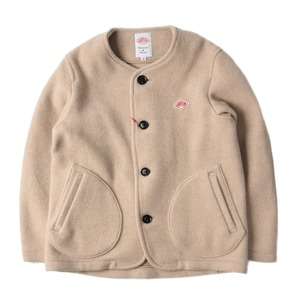 "DANTON #JD-8903 Women's Wool Mosser No Collar Jacket ""Sand Beige"""