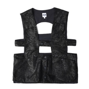 "AIE Floral Fake Leather ADV Vest ""Black"""